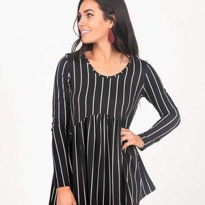 Muse Top Long Sleeve Black/White Vert Stripe